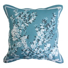 Coastal tea tree in teal blue cushion cover