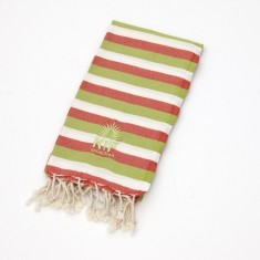 Manly kids towel in olive/tomato