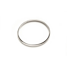 Plain half-round sterling silver bangle