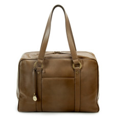 Ella leather laptop bag in olive