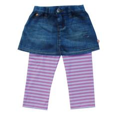Girls Printed Denim Skirt with Legging