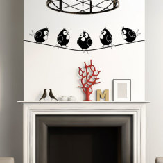 Five Birds on Wire Wall Decal