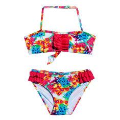 Flower pop frilly bikini