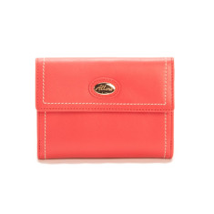 Harley medium slim leather wallet with coin purse in coral