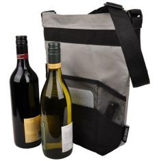 Insulated double wine & cheese bag (fits 2 bottles + food)