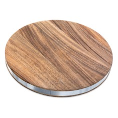 Round chopping board with stainless steel band