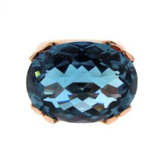 Rose gold London blue topaz crown ring