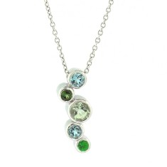 White gold line of bubbles necklace