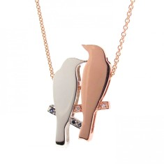 Rose gold & silver 2 finches pendant
