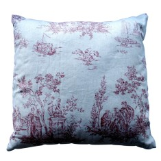 Red toile linen cushion cover