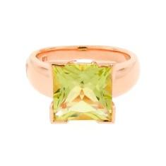 Rose gold and square lemon quartz ring