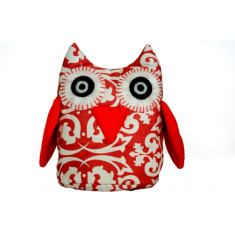Owl toy - Red damask