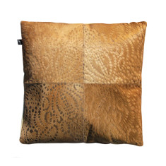 Punto loco cowhide cushion cover in natural caramel