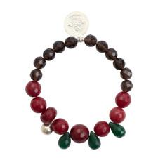 Smoky quartz & pink aventurine bracelet