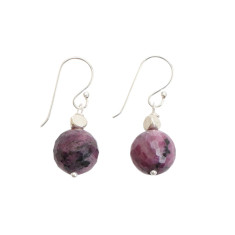 Pink ruby zoisite earring