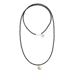 Long black onyx disc necklace