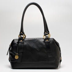 Mollie dot leather double handle bag in black
