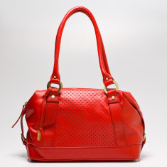 Mollie dot leather double handle bag in red