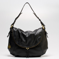 Mollie dot leather flapover bag in black