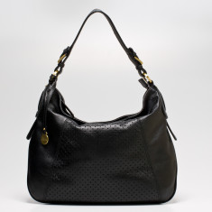 Mollie dot medium leather hobo in black