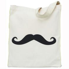 Moustache messenger tote