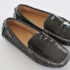 Patent croc moccasin in black