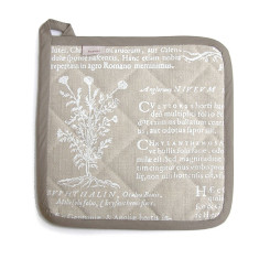 Potholder, Latin Herbal, (white)