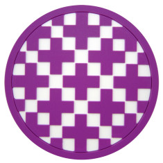 Coasters with purple cross - set of 8