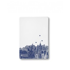 Ruth M blue landscape tile serving plate