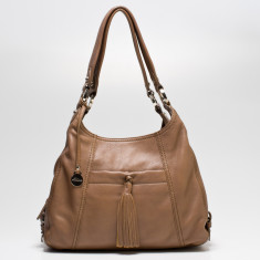 Rosie double handle leather bag in taupe