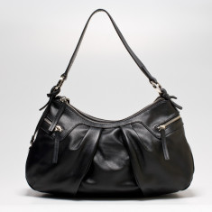 Rosie double zip shoulder bag in black