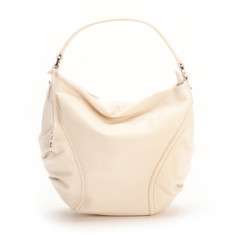 Rosie small leather Hobo in ecru