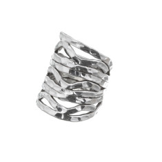 Wide chunky sterling silver beaten wave ring