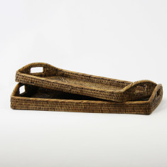 Rattan trays in brown (set of 2)