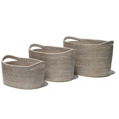 Set of 3 Rattan Oval Storage Baskets - whitewash