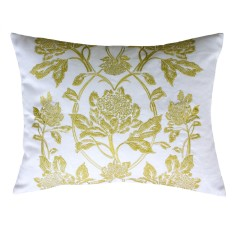 Waratah in chartreuse embroidered cushion