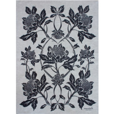 Waratah in ink/oatmeal teatowel