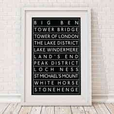 British landmarks bus blind print
