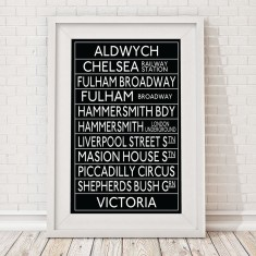 Aldwych to London bus blind print