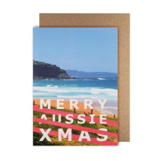 Merry Aussie Xmas stripes cards (pack of 5)