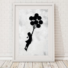 Grunge Banksy floating balloon girl print