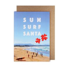 Sun surf Santa greeting cards (pack of 5)