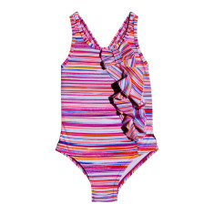 Candy stripe bow one-piece swimming costume