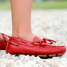 Moccasins in red