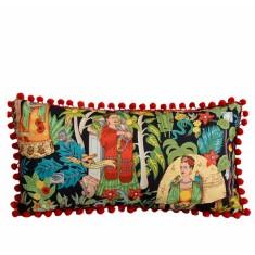 Frida's garden black long pom pom cushion