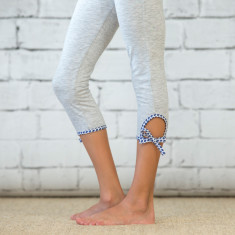 Girls' leggings with blue motif tie