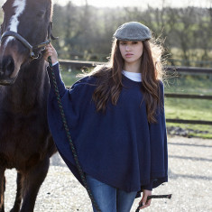 Reversible colour block poncho in navy/hoxton blue