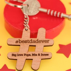 In your own words personalised hashtag wooden key ring