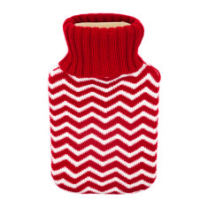 Hot water bottle in red chevron