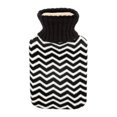 Hot water bottle in black chevron